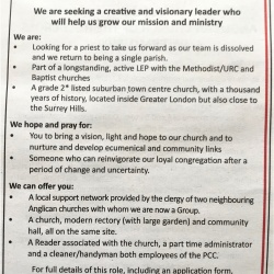 St Nicholas advertises for a new Rector